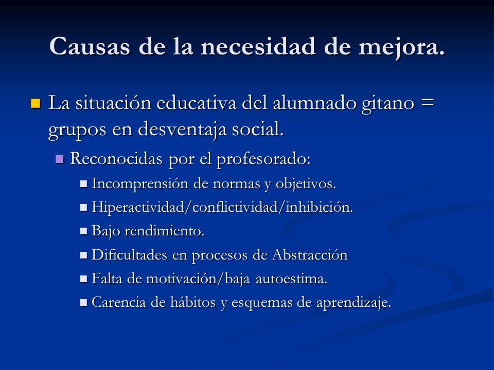 Causas de la necesidad de mejora. La situación educativa del alumnado gitano = grupos en desventaja social. La situación educativa del alumnado gitano