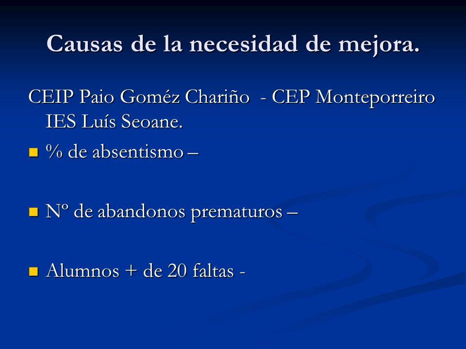 Causas de la necesidad de mejora. CEIP Paio Goméz Chariño - CEP Monteporreiro IES Luís Seoane.