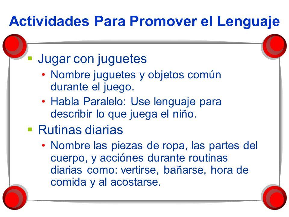 Actividades Para Promover el Lenguaje Jugar con juguetes Nombre juguetes y objetos común durante el juego. Habla Paralelo: Use lenguaje para describir