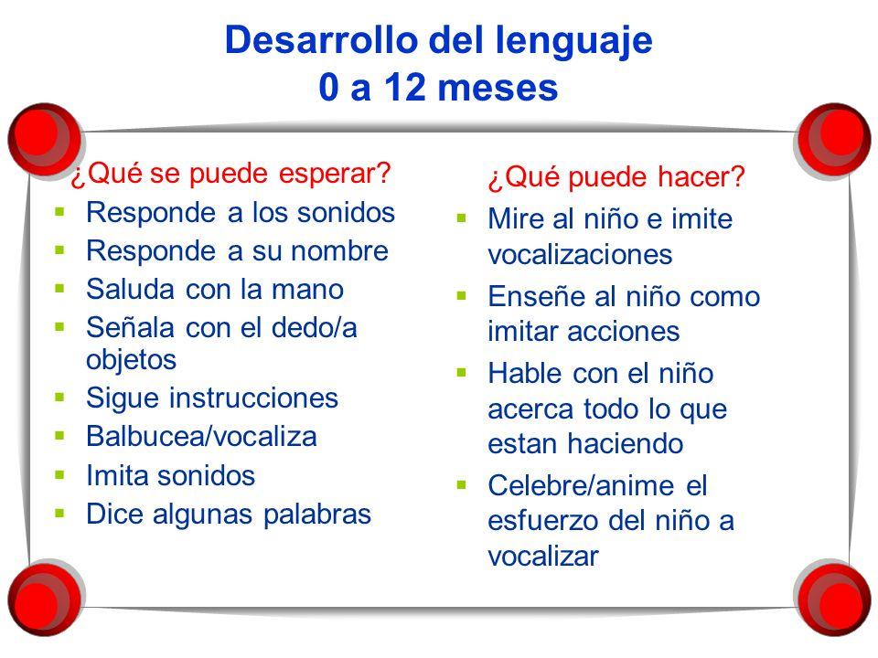 Desarrollo del lenguaje 0 a 12 meses ¿Qué se puede esperar? Responde a los sonidos Responde a su nombre Saluda con la mano Señala con el dedo/a objeto