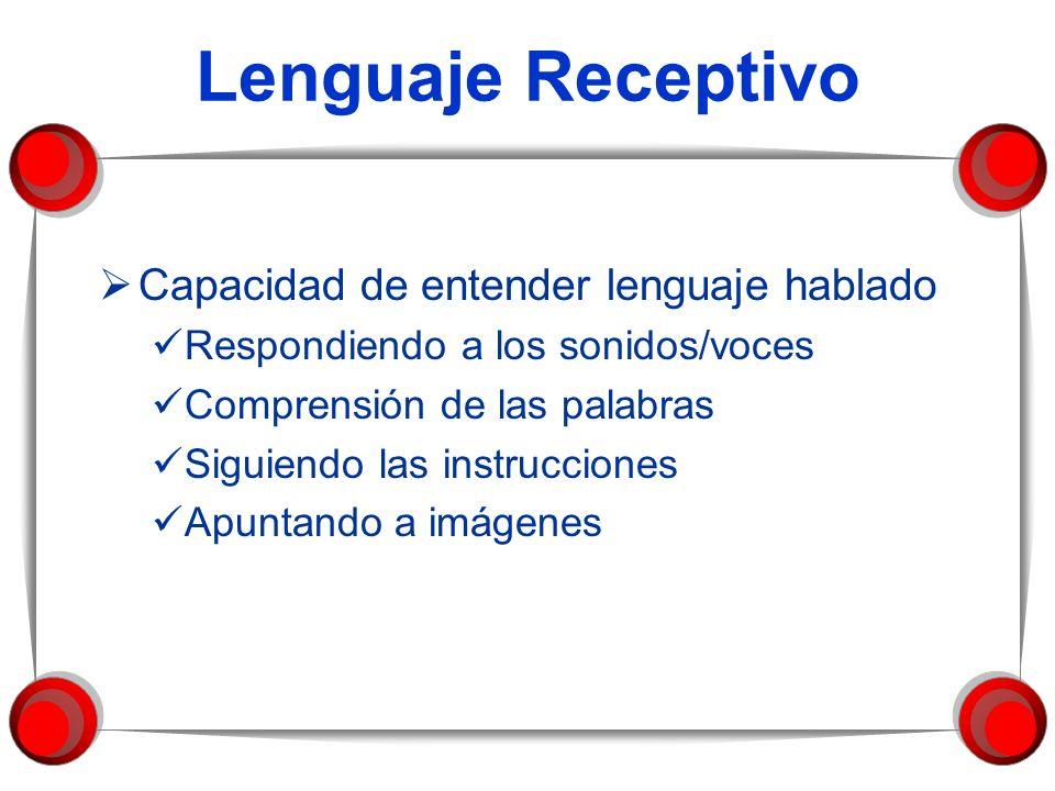 Lenguaje Receptivo Capacidad de entender lenguaje hablado Respondiendo a los sonidos/voces Comprensión de las palabras Siguiendo las instrucciones Apu