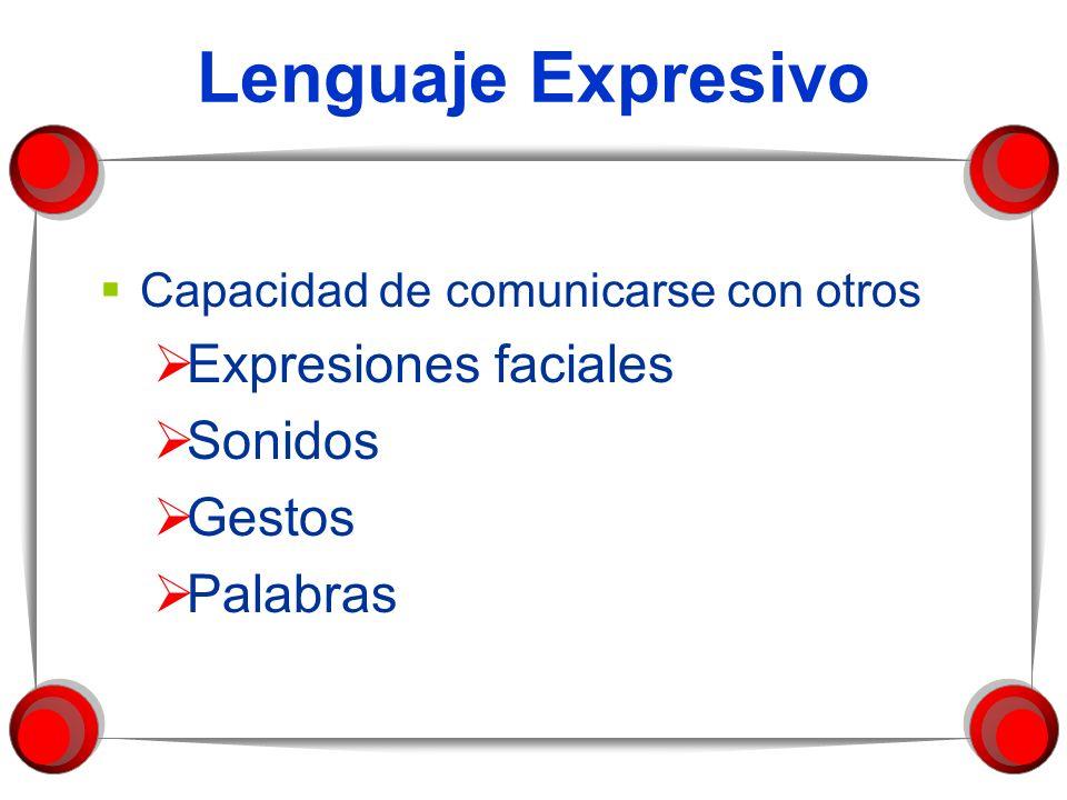 Lenguaje Expresivo Capacidad de comunicarse con otros Expresiones faciales Sonidos Gestos Palabras