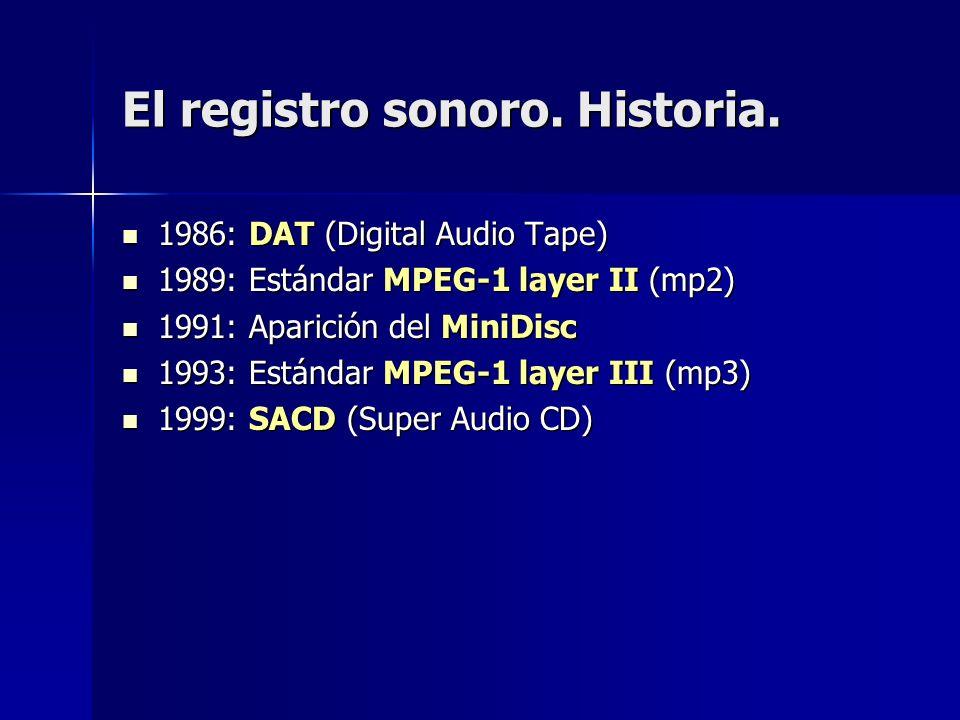 El registro sonoro. Historia. 1986: DAT (Digital Audio Tape) 1986: DAT (Digital Audio Tape) 1989: Estándar MPEG-1 layer II (mp2) 1989: Estándar MPEG-1
