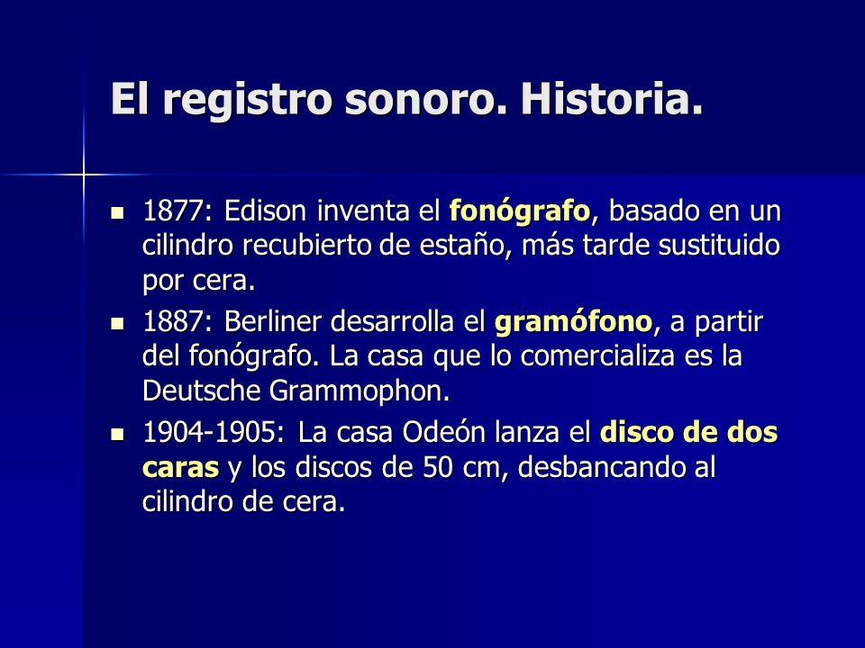 El registro sonoro. Historia. 1877: Edison inventa el fonógrafo, basado en un cilindro recubierto de estaño, más tarde sustituido por cera. 1877: Edis