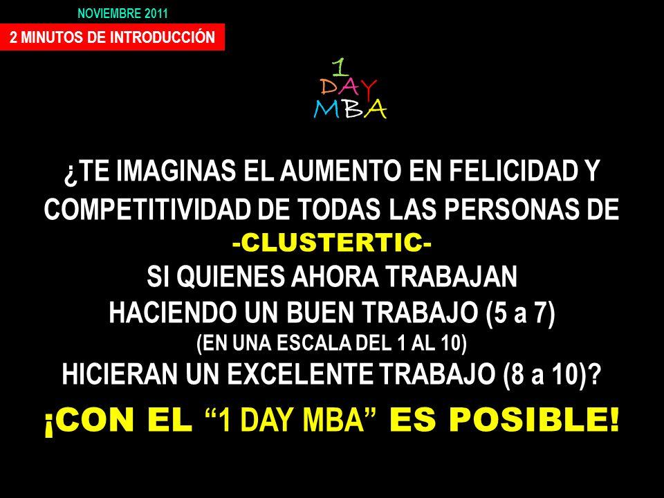 1 DAY MBA UN SEMINARIO-EXPERIENCIA QUE PUEDE-DEBE CAMBIAR-MEJORAR TU VIDA Exclusivo para CLUSTERTIC El 10 de Noviembre Parque Científico Tecnológico d