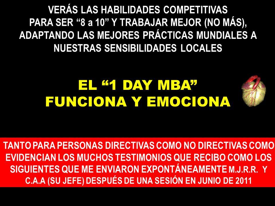 EL 1 DAY MBA FUNCIONA Y EMOCIONA TANTO PARA PERSONAS DIRECTIVAS COMO NO DIRECTIVAS COMO EVIDENCIAN LOS MUCHOS TESTIMONIOS QUE RECIBO COMO LOS SIGUIENTES QUE ME ENVIARON EXPONTÁNEAMENTE M.J.R.R.