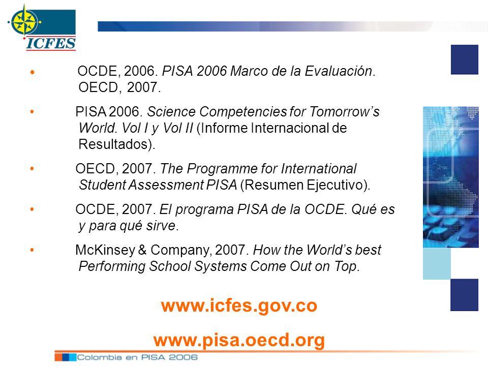 OCDE, 2006. PISA 2006 Marco de la Evaluación. OECD, 2007. PISA 2006. Science Competencies for Tomorrows World. Vol I y Vol II (Informe Internacional d