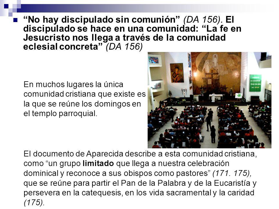 No hay discipulado sin comunión (DA 156). El discipulado se hace en una comunidad: La fe en Jesucristo nos llega a través de la comunidad eclesial con