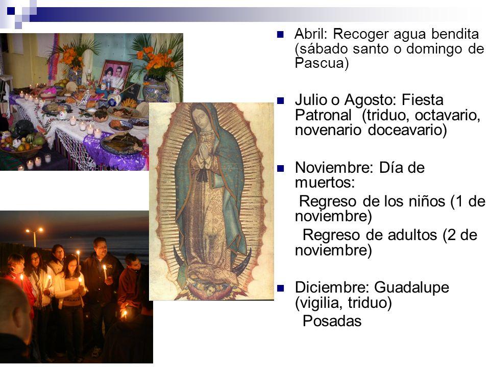 Abril: Recoger agua bendita (sábado santo o domingo de Pascua) Julio o Agosto: Fiesta Patronal (triduo, octavario, novenario doceavario) Noviembre: Dí