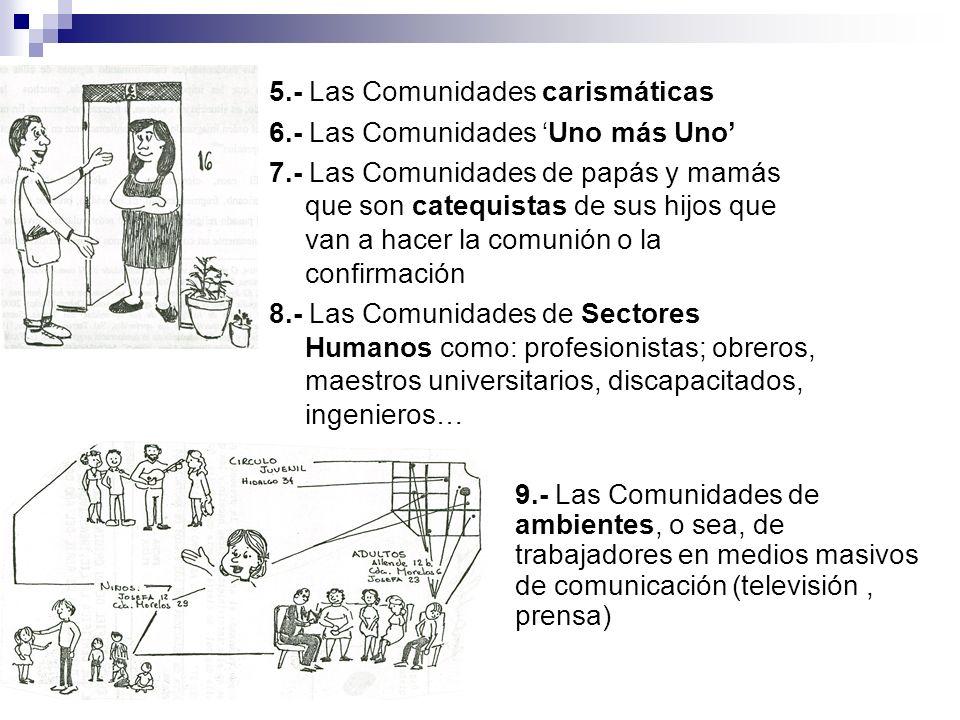 5.- Las Comunidades carismáticas 6.- Las Comunidades Uno más Uno 7.- Las Comunidades de papás y mamás que son catequistas de sus hijos que van a hacer