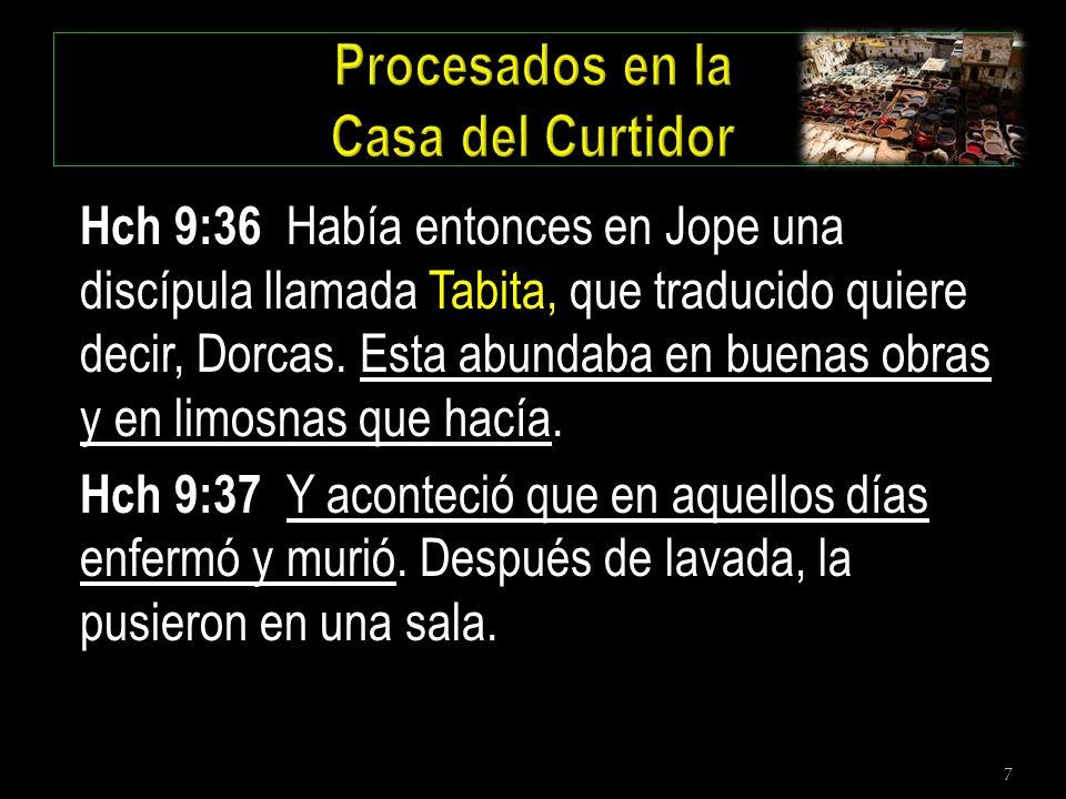 7 Hch 9:36 Había entonces en Jope una discípula llamada Tabita, que traducido quiere decir, Dorcas. Esta abundaba en buenas obras y en limosnas que ha
