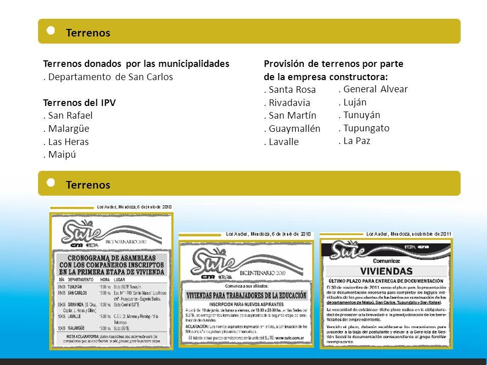 Terrenos Terrenos donados por las municipalidades.