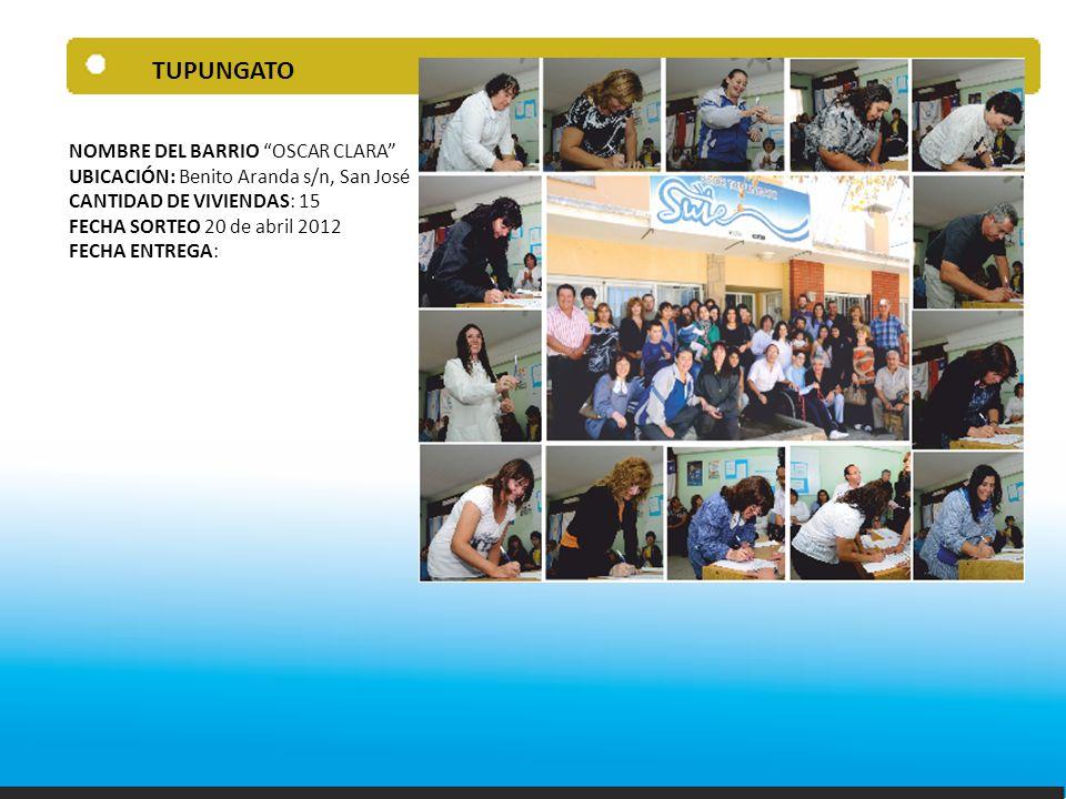TUPUNGATO NOMBRE DEL BARRIO OSCAR CLARA UBICACIÓN: Benito Aranda s/n, San José CANTIDAD DE VIVIENDAS: 15 FECHA SORTEO 20 de abril 2012 FECHA ENTREGA: