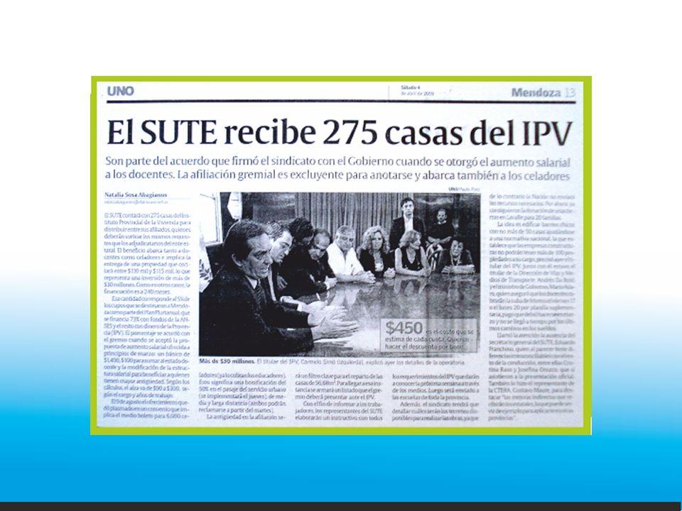 NOMBRE DEL BARRIO: MARINA VILTE UBICACIÓN: Belgrano s/n Las Catitas CANTIDAD DE VIVIENDAS: 12 FECHA SORTEO: 18 de octubre de 2011 FECHA ENTREGA: 1 de diciembre de 2011 ADJUDICATARIOS: Francisco Fabián Costanzo (casa: A-2), Alicia Beatriz Zalazar (A-7), Gustavo J.