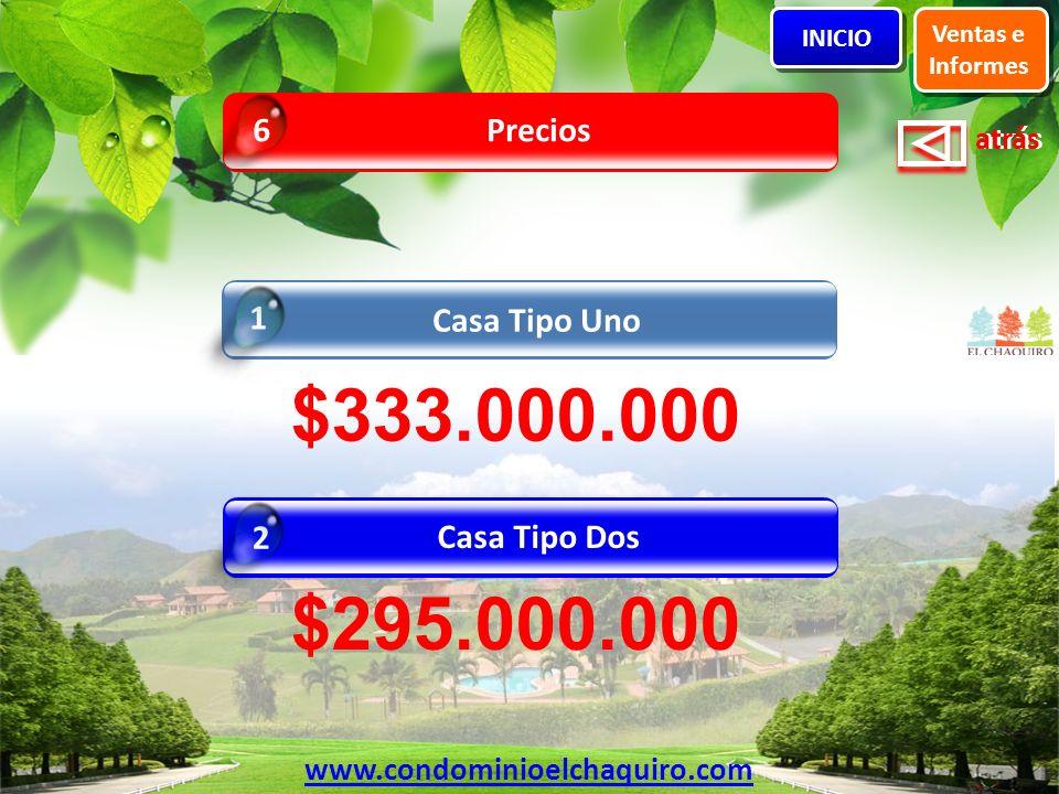 atrás Precios 6 Casa Tipo Uno 1 Ventas e Informes INICIO www.condominioelchaquiro.com Casa Tipo Dos 2 $333.000.000 $295.000.000