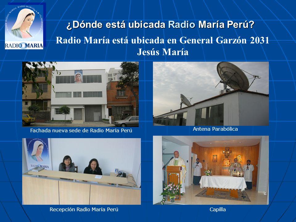 Fachada nueva sede de Radio María Perú Recepción Radio María PerúCapilla Antena Parabólica ¿Dónde está ubicada Radio María Perú? Radio María está ubic