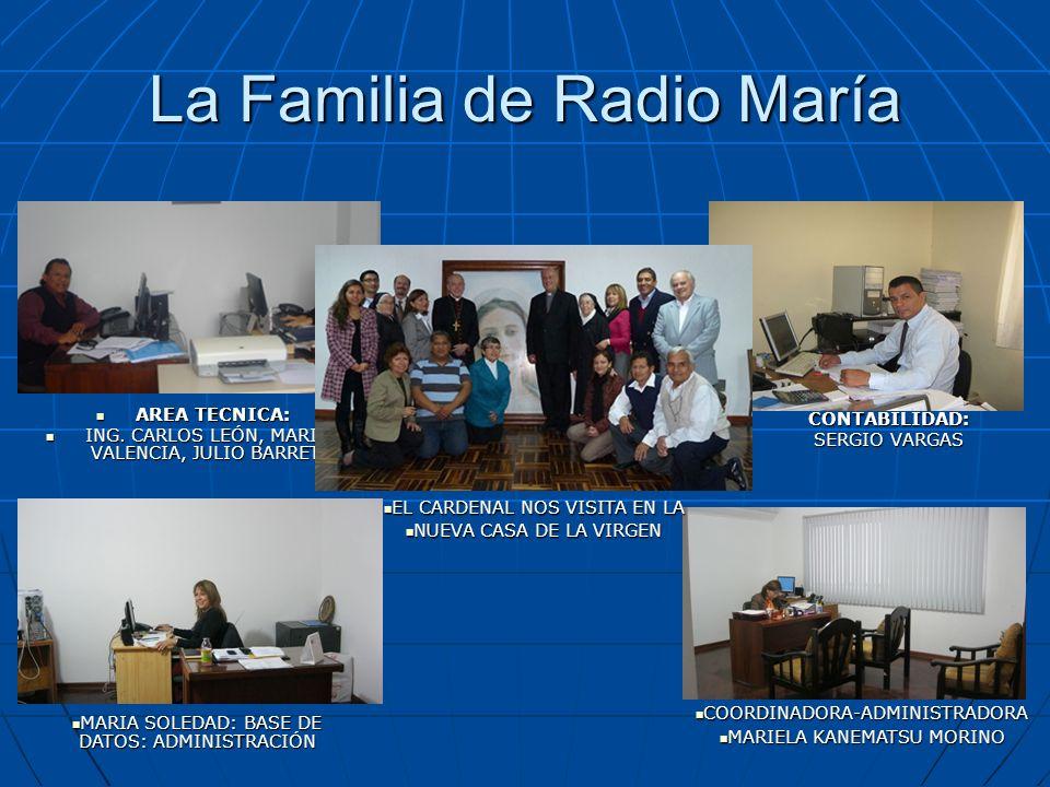 La Familia de Radio María AREA TECNICA: AREA TECNICA: ING. CARLOS LEÓN, MARITA VALENCIA, JULIO BARRETO ING. CARLOS LEÓN, MARITA VALENCIA, JULIO BARRET
