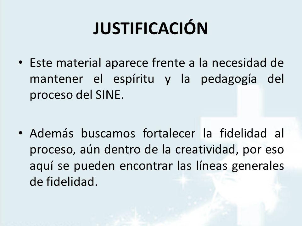 JUSTIFICACIÓN Este material aparece frente a la necesidad de mantener el espíritu y la pedagogía del proceso del SINE. Además buscamos fortalecer la f