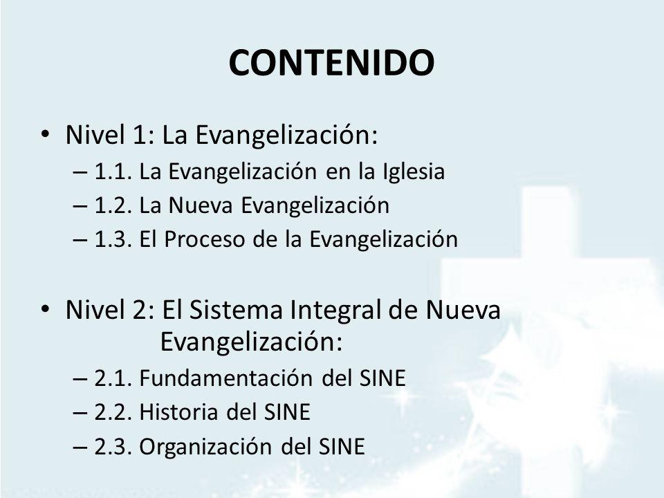 CONTENIDO Nivel 1: La Evangelización: – 1.1. La Evangelización en la Iglesia – 1.2. La Nueva Evangelización – 1.3. El Proceso de la Evangelización Niv