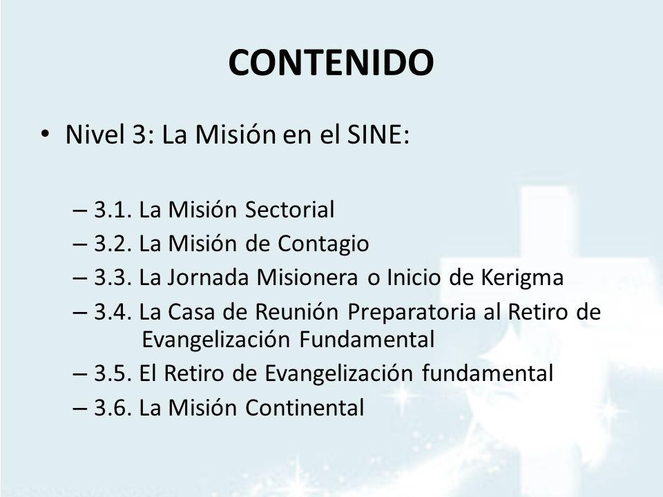 CONTENIDO Nivel 3: La Misión en el SINE: – 3.1. La Misión Sectorial – 3.2. La Misión de Contagio – 3.3. La Jornada Misionera o Inicio de Kerigma – 3.4