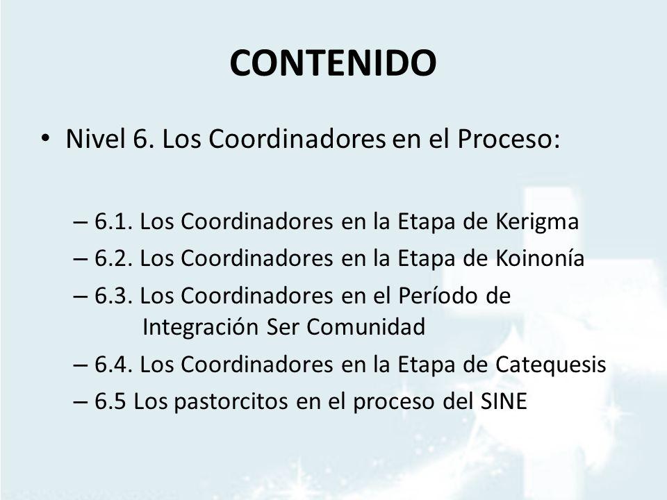 CONTENIDO Nivel 6. Los Coordinadores en el Proceso: – 6.1. Los Coordinadores en la Etapa de Kerigma – 6.2. Los Coordinadores en la Etapa de Koinonía –
