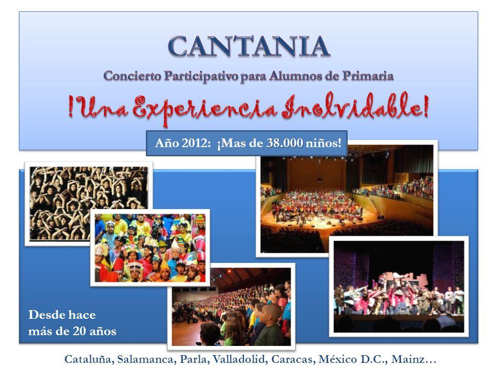 38.000 Año 2012: ¡Mas de 38.000 niños! Desde hace más de 20 años Cataluña, Salamanca, Parla, Valladolid, Caracas, México D.C., Mainz…