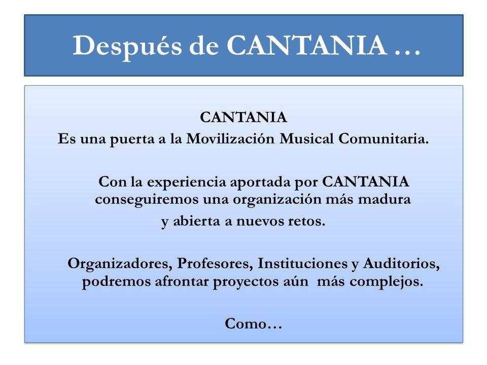 Después de CANTANIA … CANTANIA Es una puerta a la Movilización Musical Comunitaria. Con la experiencia aportada por CANTANIA conseguiremos una organiz