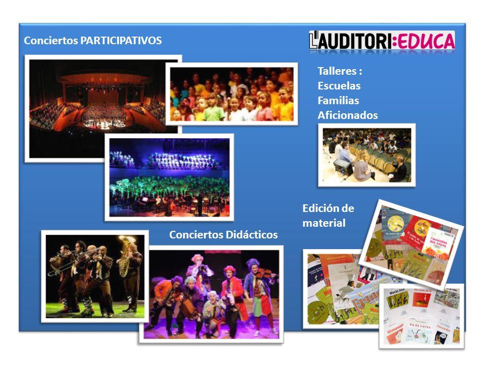 Conciertos PARTICIPATIVOS Conciertos Didácticos Edición de material Talleres : Escuelas Familias Aficionados