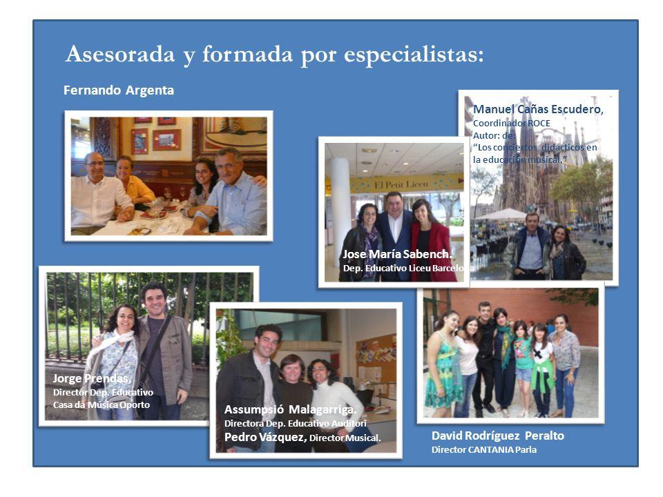 Asesorada y formada por especialistas: Jorge Prendas, Director Dep. Educativo Casa da Música Oporto Assumpsió Malagarriga. Directora Dep. Educativo Au