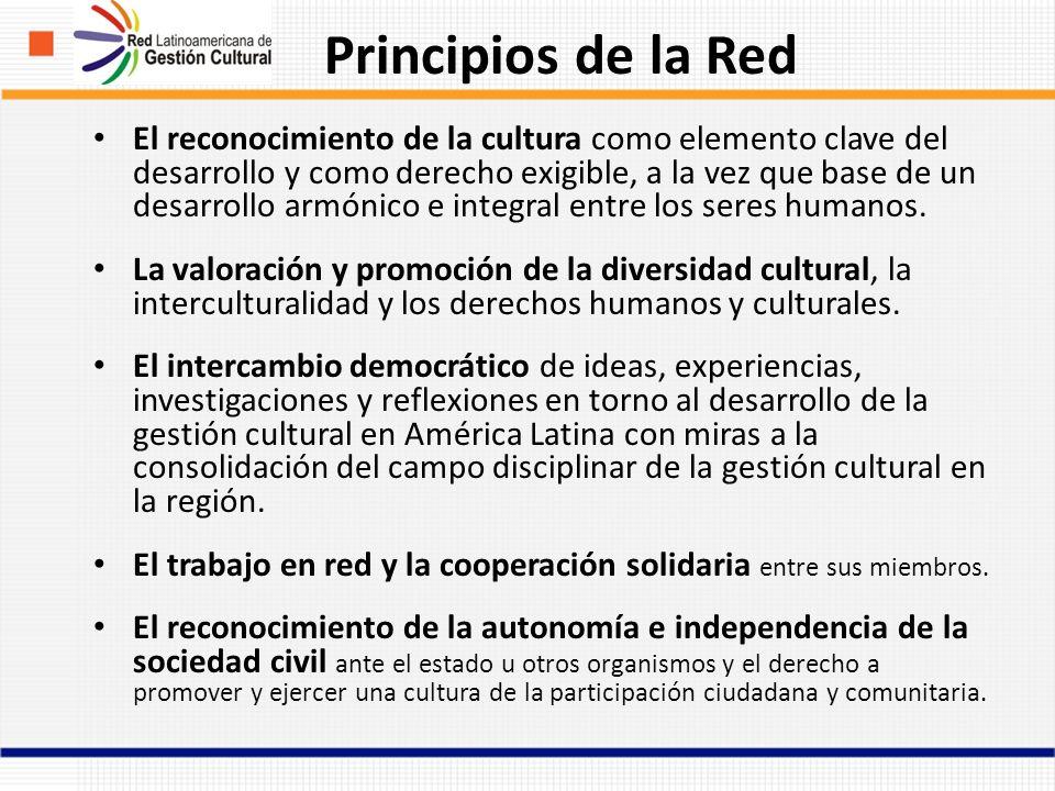 Principios de la Red El reconocimiento de la cultura como elemento clave del desarrollo y como derecho exigible, a la vez que base de un desarrollo armónico e integral entre los seres humanos.