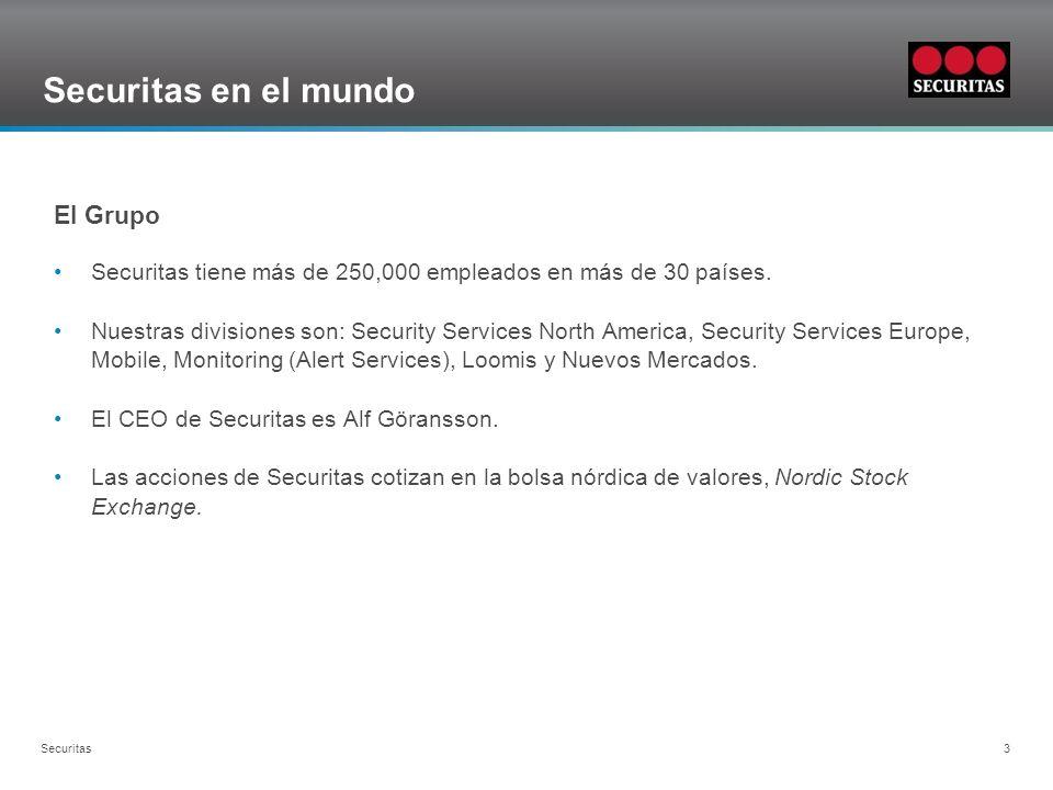 Grid Securitas 3 Securitas en el mundo El Grupo Securitas tiene más de 250,000 empleados en más de 30 países.