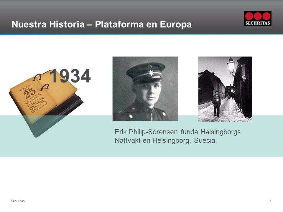 Grid Securitas 4 Nuestra Historia – Plataforma en Europa 1934 Erik Philip-Sörensen funda Hälsingborgs Nattvakt en Helsingborg, Suecia.