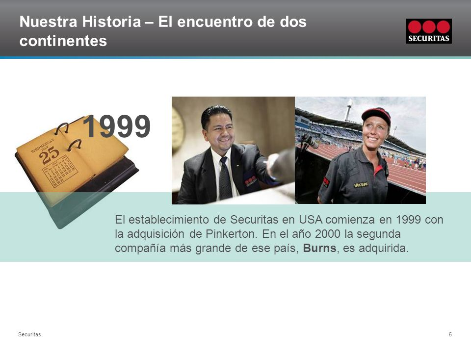 Grid Securitas 5 Nuestra Historia – El encuentro de dos continentes 1999 El establecimiento de Securitas en USA comienza en 1999 con la adquisición de
