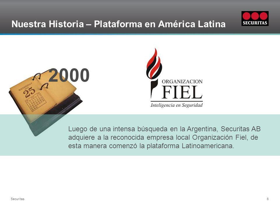 Grid Securitas 6 Nuestra Historia – Plataforma en América Latina Luego de una intensa búsqueda en la Argentina, Securitas AB adquiere a la reconocida