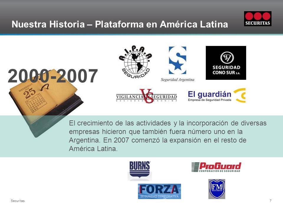Grid Securitas 7 Nuestra Historia – Plataforma en América Latina El crecimiento de las actividades y la incorporación de diversas empresas hicieron que también fuera número uno en la Argentina.