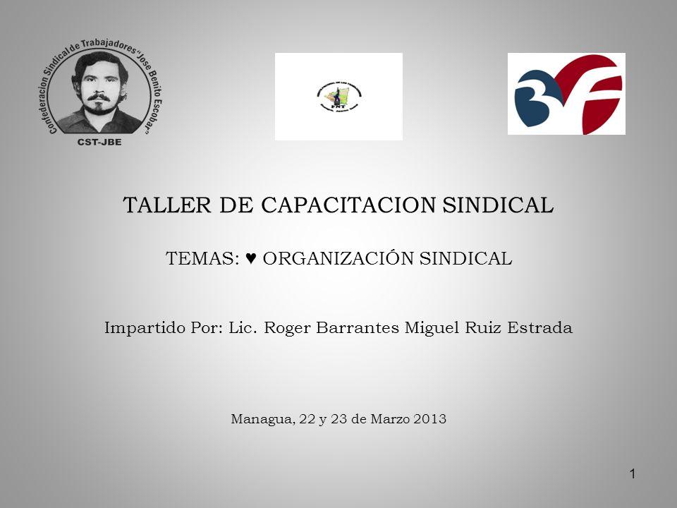 1 TALLER DE CAPACITACION SINDICAL TEMAS: ORGANIZACIÓN SINDICAL Impartido Por: Lic.