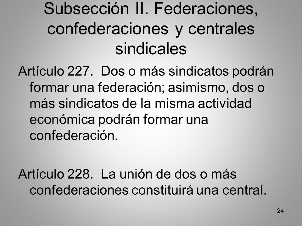 24 Subsección II. Federaciones, confederaciones y centrales sindicales Artículo 227.