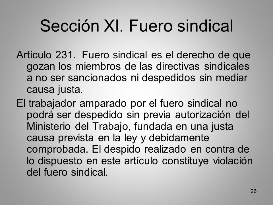 26 Sección XI. Fuero sindical Artículo 231.