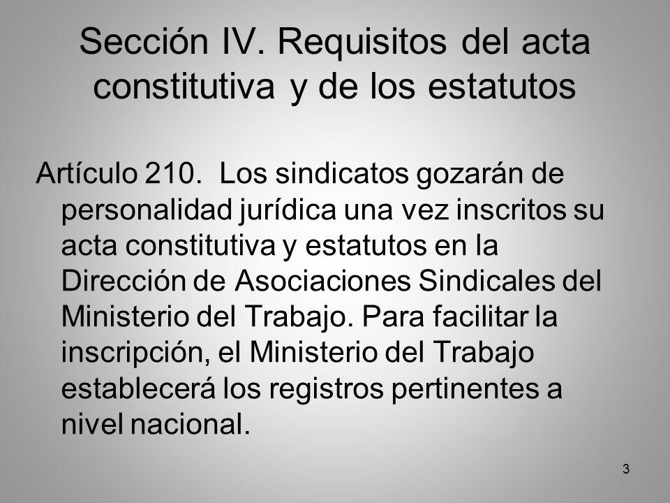 3 Sección IV. Requisitos del acta constitutiva y de los estatutos Artículo 210.