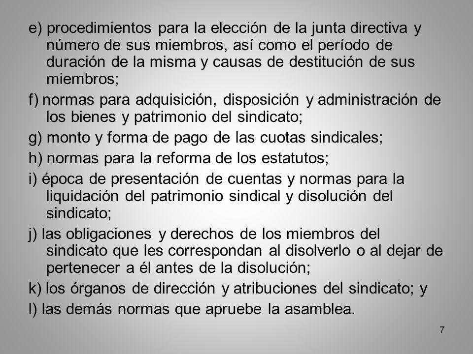 8 Sección V.Del registro de sindicatos y asociaciones Artículo 213.