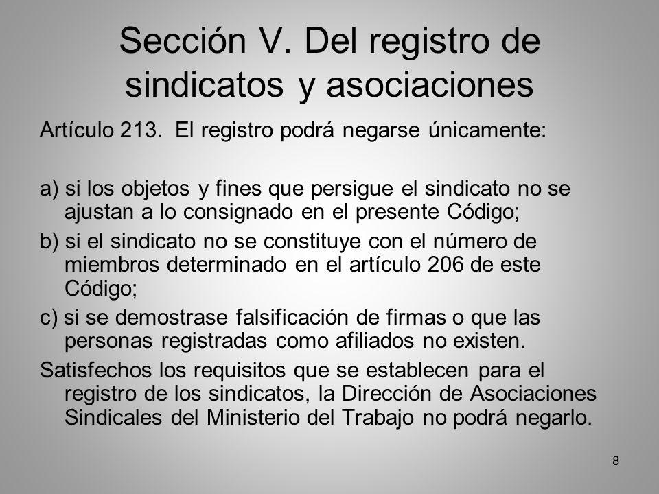 8 Sección V. Del registro de sindicatos y asociaciones Artículo 213.