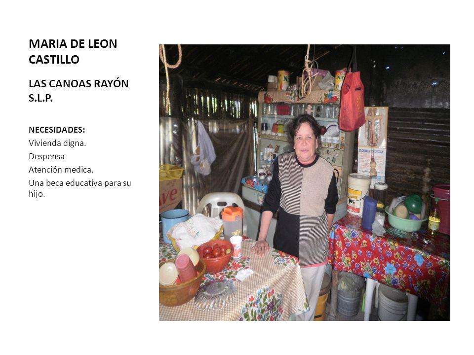 MARIA DE LEON CASTILLO LAS CANOAS RAYÓN S.L.P. NECESIDADES: Vivienda digna. Despensa Atención medica. Una beca educativa para su hijo.
