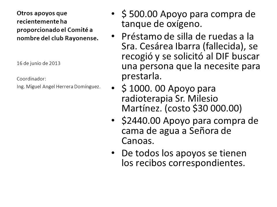 Otros apoyos que recientemente ha proporcionado el Comité a nombre del club Rayonense. $ 500.00 Apoyo para compra de tanque de oxígeno. Préstamo de si