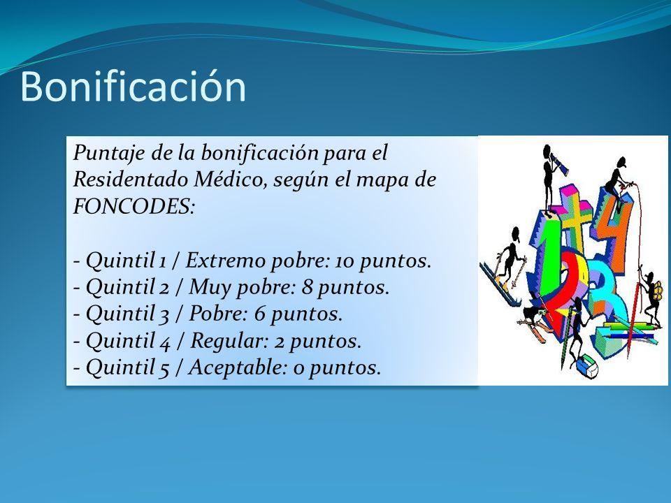 Bonificación Puntaje de la bonificación para el Residentado Médico, según el mapa de FONCODES: - Quintil 1 / Extremo pobre: 10 puntos. - Quintil 2 / M