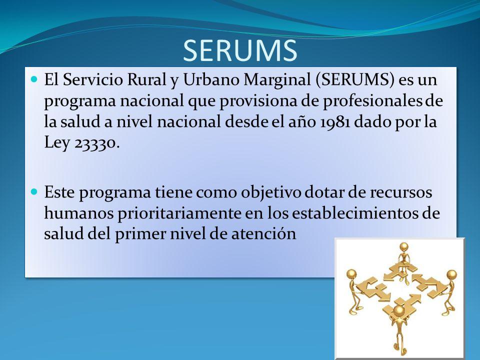 SERUMS El Servicio Rural y Urbano Marginal (SERUMS) es un programa nacional que provisiona de profesionales de la salud a nivel nacional desde el año