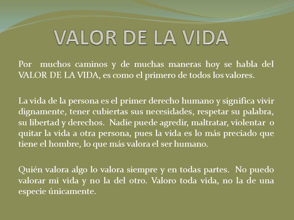 Por muchos caminos y de muchas maneras hoy se habla del VALOR DE LA VIDA, es como el primero de todos los valores. La vida de la persona es el primer