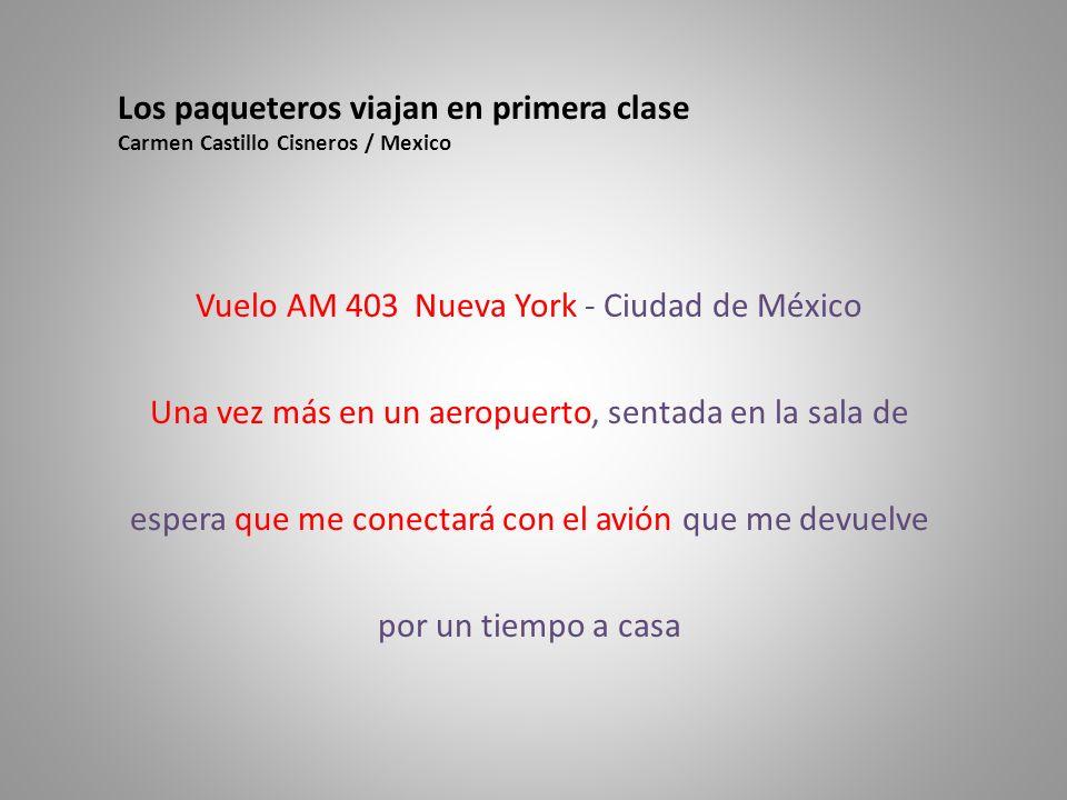 Vuelo AM 403 Nueva York - Ciudad de México Una vez más en un aeropuerto, sentada en la sala de espera que me conectará con el avión que me devuelve por un tiempo a casa Los paqueteros viajan en primera clase Carmen Castillo Cisneros / Mexico