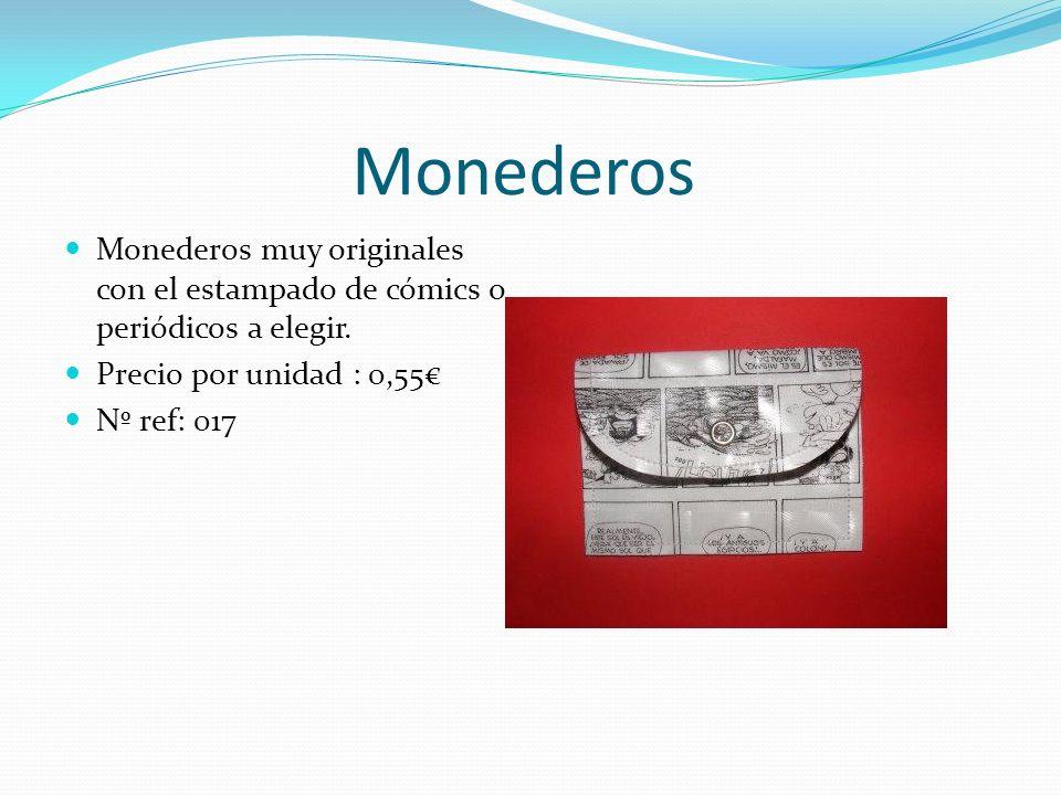 Monederos Monederos muy originales con el estampado de cómics o periódicos a elegir. Precio por unidad : 0,55 Nº ref: 017