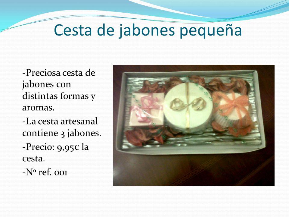 Cesta de jabones pequeña -Preciosa cesta de jabones con distintas formas y aromas. -La cesta artesanal contiene 3 jabones. -Precio: 9,95 la cesta. -Nº