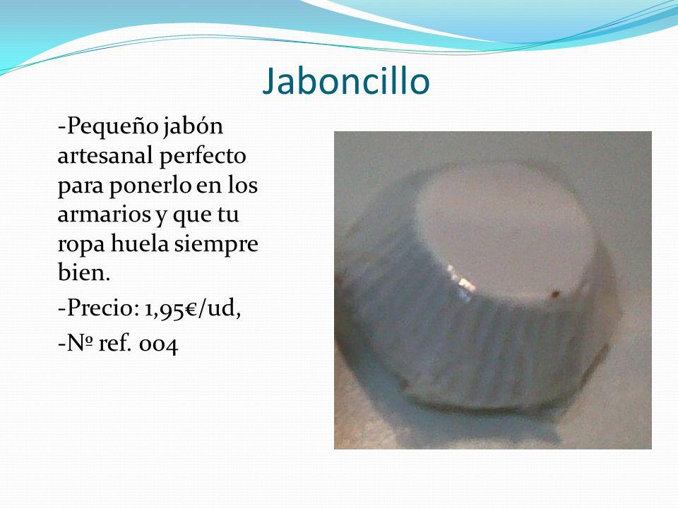 Jaboncillo -Pequeño jabón artesanal perfecto para ponerlo en los armarios y que tu ropa huela siempre bien. -Precio: 1,95/ud, -Nº ref. 004